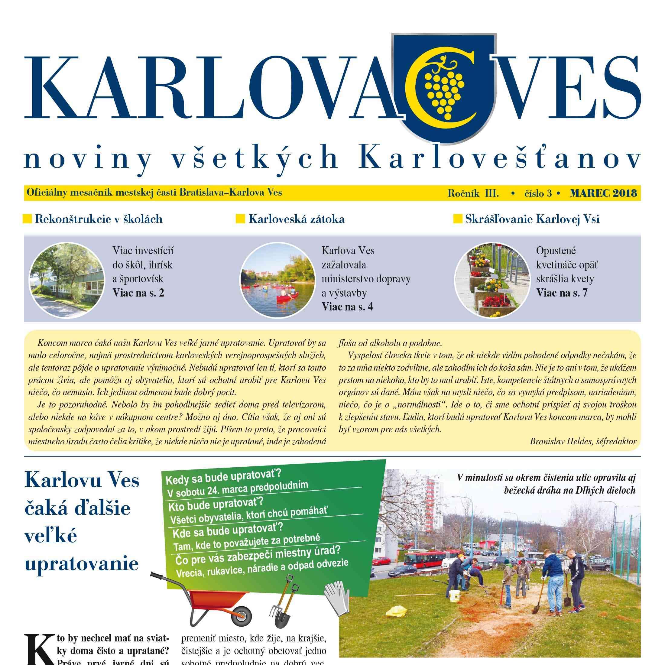 Vyšlo marcové číslo mesačníka KARLOVA VES – noviny všetkých Karlovešťanov