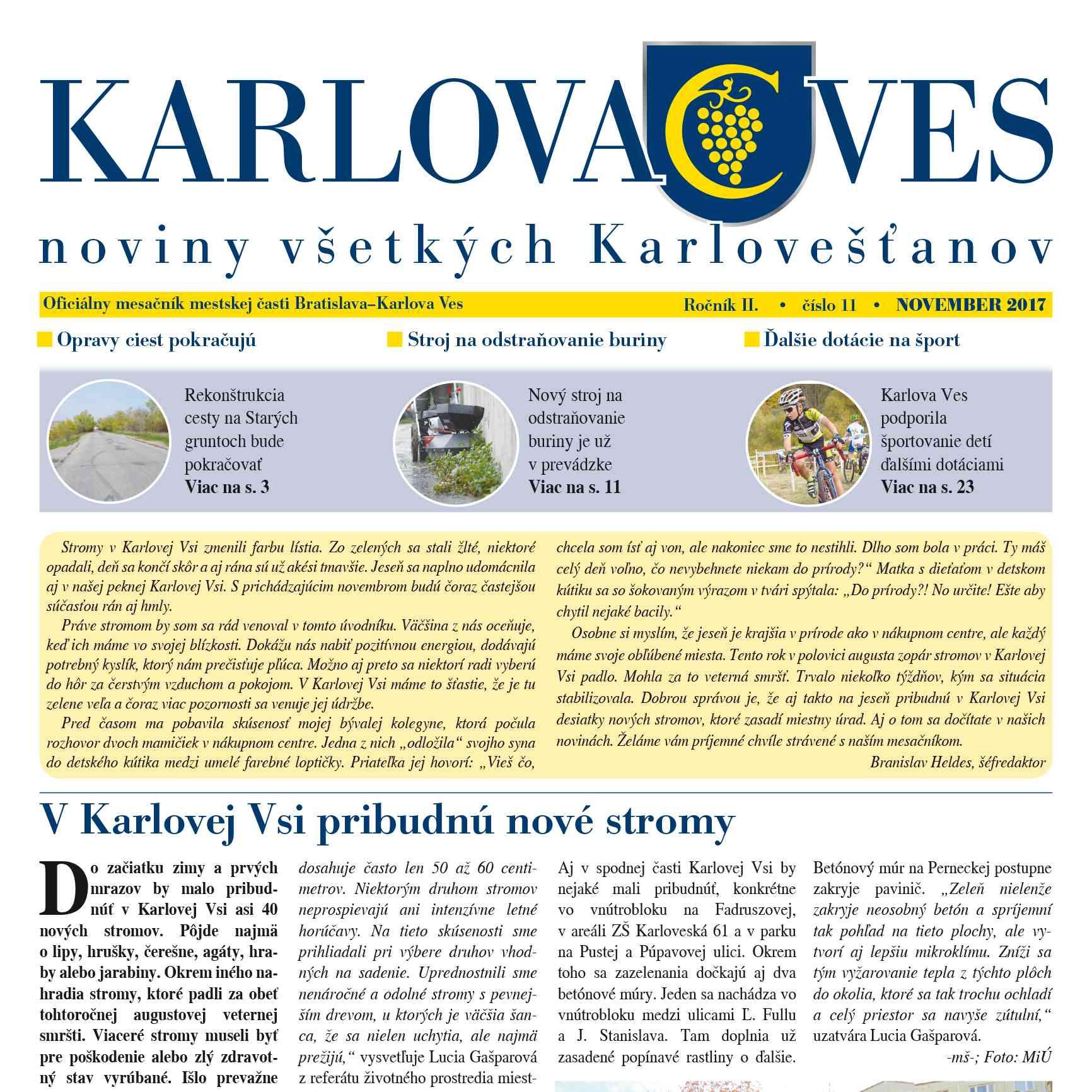 Novembrové číslo mesačníka KARLOVA VES nájdete aj na internetovej stránke MČ