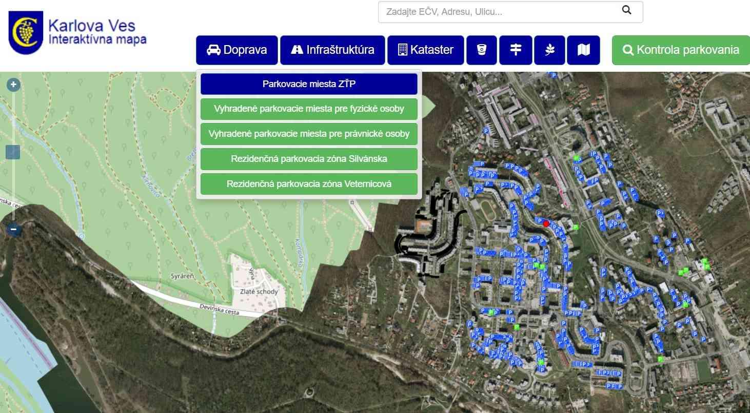 Karlova Ves sprístupnila prehľadnú mapu vyhradeného parkovania